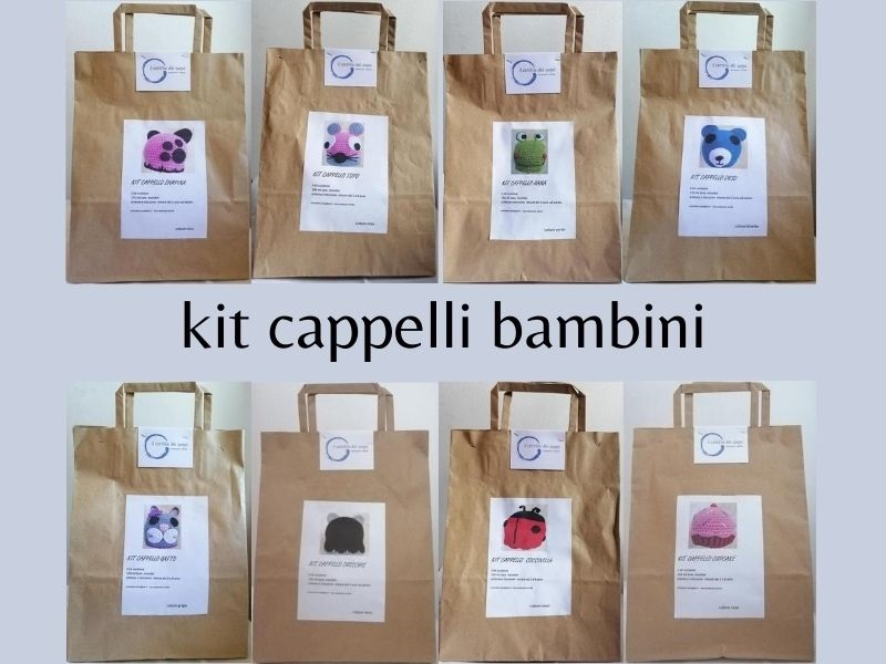 kit cappellini bambini all'uncinetto